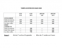 TARIFS LOCATION DE SALLES 2020